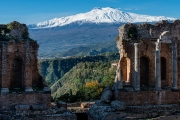 Mt. Etna from the Greek theater, Taormina
