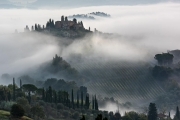 morning fog, San Gimignano